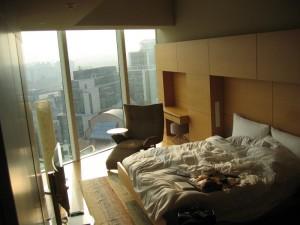 Rumpled Hotel Room Bed